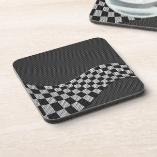 Carbon Fiber Style Racing Flag Checkers Wave Print Coasters