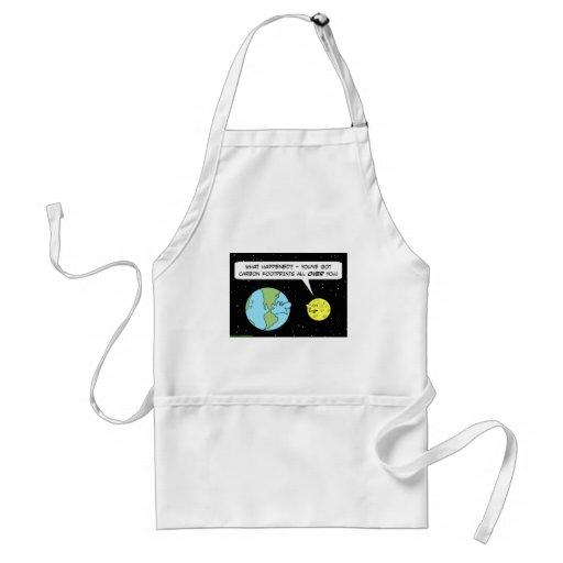 carbon footprints earth moon apron