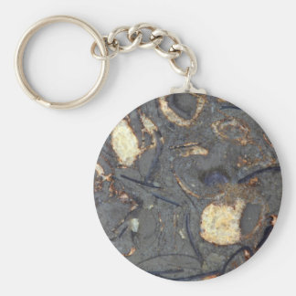 Carbonate rock with fossils basic round button keychain