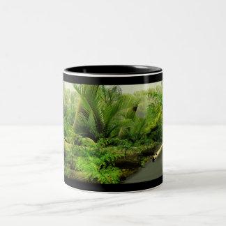 Carboniferous swamp panorama Two-Tone coffee mug