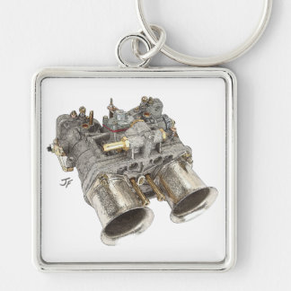 Carburetor Silver-Colored Square Keychain