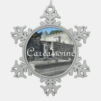Carcassonne, France Snowflake Pewter Christmas Ornament