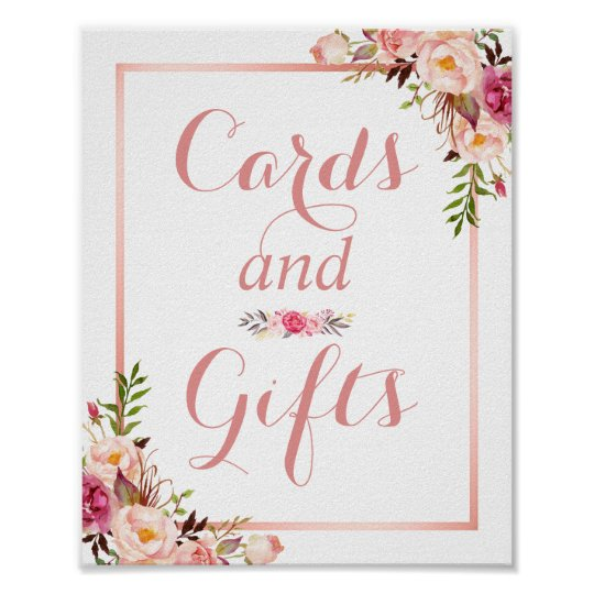 Card and Gifts | Floral Rose Gold Wedding Sign