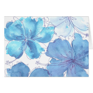 Card - Blue Hibiscus Flower - Watercolor