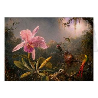 Card: Cattleya Orchid & Three Hummingbirds Card