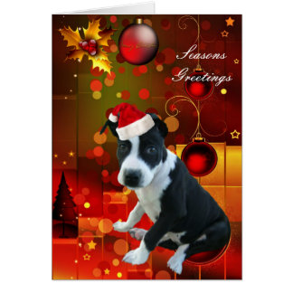 Card Christmas Pitbull Puppy Dog Card
