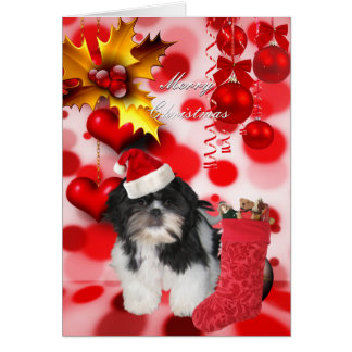 Card Christmas Xmas Dog Shitzu Puppy Hat Hearts