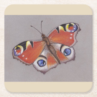 Card Coasters with Peacock Butterfly Design