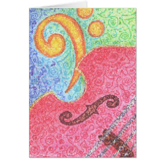 Card - Colorful Double Bass and Clef