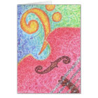 Card - Colourful Double Bass and Clef