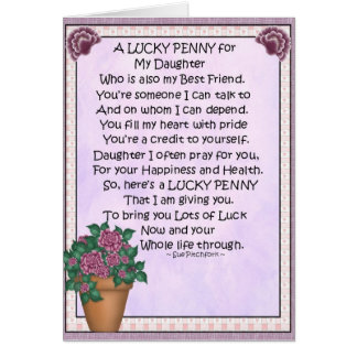 Card-Daughter-Lucky Penny-Just glue penny on Card