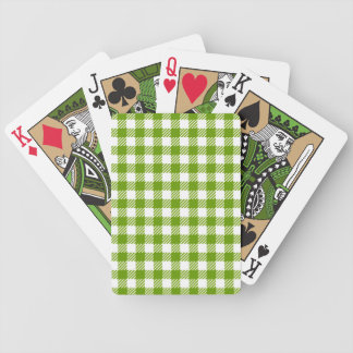 Card deck with green checkered tablecloth pattern