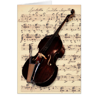 Card - Double Bass with hand written sheet music