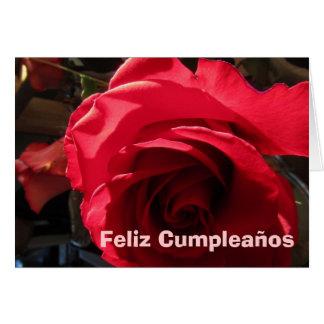 Card - Feliz Cumpleaños - Rosa Roja
