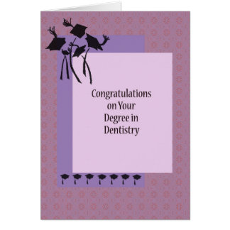 Card for Degree in Dentistry with Grad. Caps