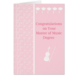 Card for Master of Music Degree in Pink