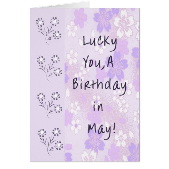 Card for May Birthday in Lavender