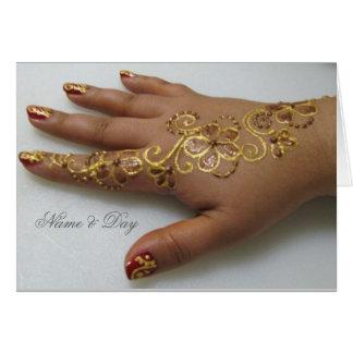 Card Gold Mehndi Hand