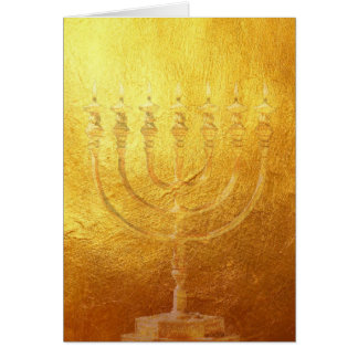 Card golden Menorah | gold | Israel | map