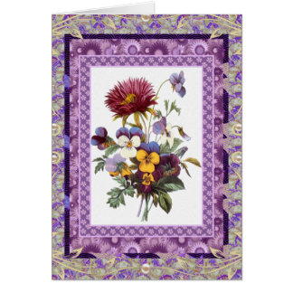 Card Greeting Vintage Floral Mauve Flowers
