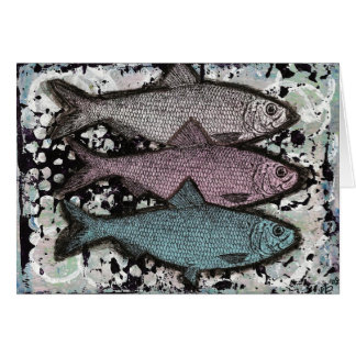 Card, Grunge Fish Art 3 Fish Card