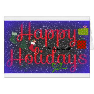 Card Happy Holidays Saying  Deep Purple Red Snow