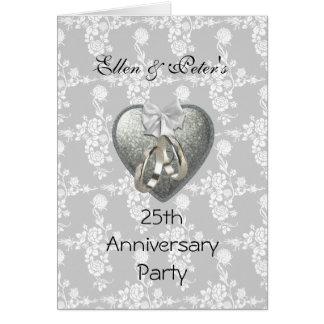 Card Invite 25th Wedding Anniversary Party Silver