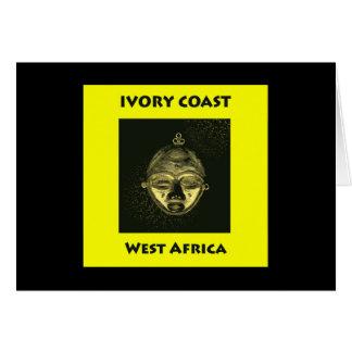 Card IVORY COAST GOLD MASK, yellow background