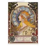 Card: Mucha - Zodiac - La Plume