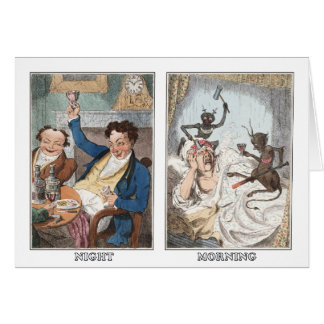 Card: Night - Morning - Antique Caricature Card