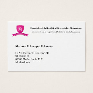 Card of ambassador of Moderdonia (editable)