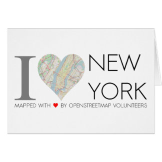 Card of I love New York. OpenStreetMap map