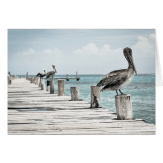 Card - Pelicans on Pier - Happy Birthday
