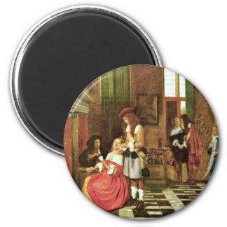 Card Players By Hooch Pieter De (Best Quality) Magnet