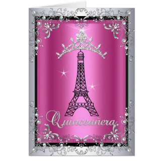 Card Quinceanera Pink Silver Tiara Eiffel Tower