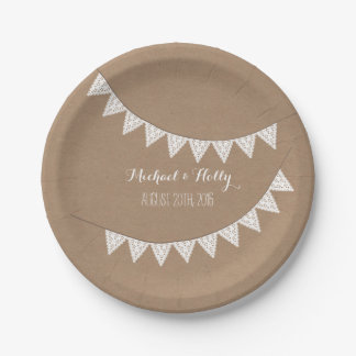 Card Stock Inspired Eyelet Bunting Wedding Paper Plate