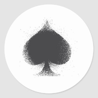 Card suit Spades -  grunge Classic Round Sticker
