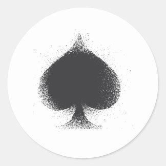 Card suit Spades -  grunge Round Sticker