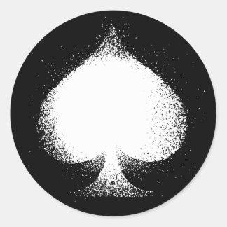 Card suit Spades white-  grunge Round Sticker