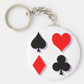 Card Suits Basic Round Button Keychain