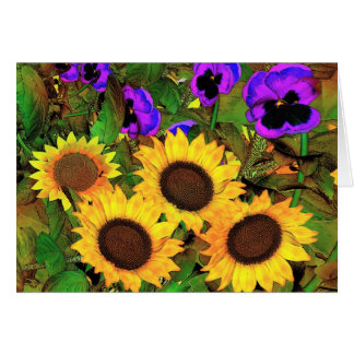 Card Sunflowers And Pansies