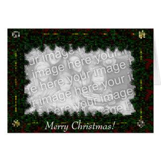Card Template - Mosaic Christmas Pine & Bows