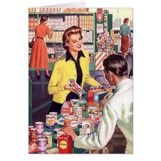 Card w/ Happy Lady at Check-out Grocery Store