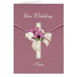 Card Wedding Religious Cross Elegant Pink