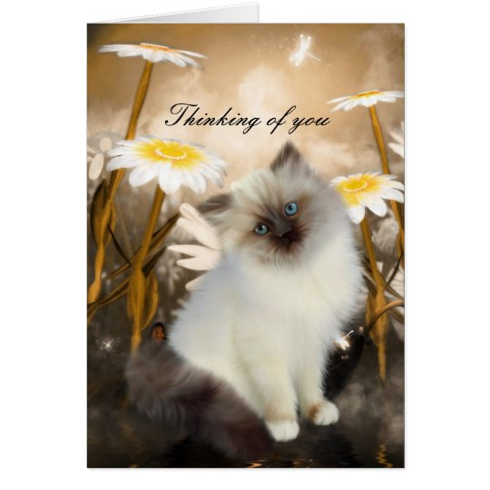 "Card White Cat Kitten Flowers ""Thinking of you"""