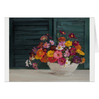 Card with a joyful bouquet of colorful flowers