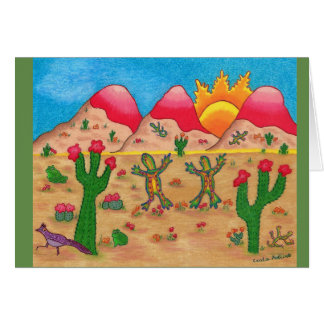 Card with cactus and dancing geckos.