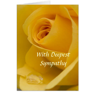 Card - With Deepest Sympathy Yellow Rose with Rain