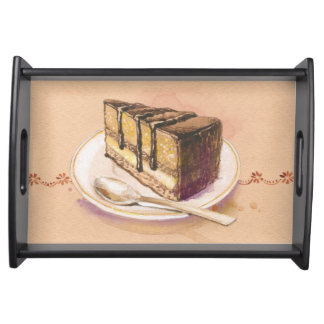 Card with painted watercolor cake food trays