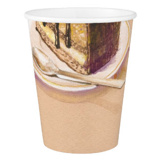 Card with painted watercolor cake paper cup